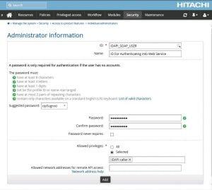 IDAPI SOAP User Configuration Page