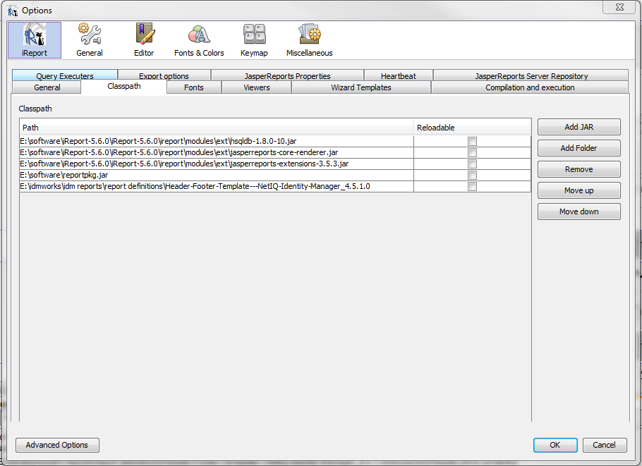 iReport classpath settings